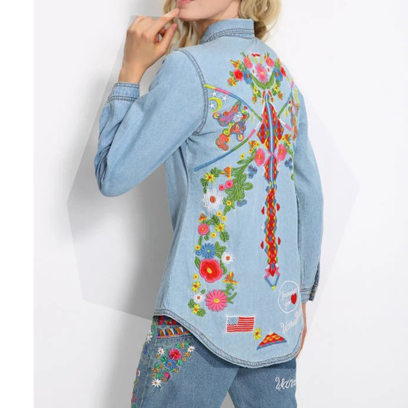 Vintage Autumn Women Embroidery Denim Blouse Shirts Lapel Long Sleeve Tops Plus Size Brand blusas y camisas mujer Q-DWDD8080