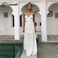 Conmoto White Polka Dot Long Dress Women Winter V Neck Party Dress Elegant Spaghetti Strap Ruffle Dress Vestido