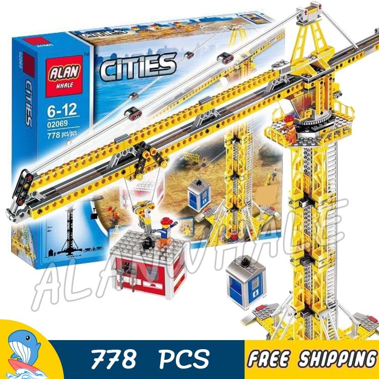 778pcs New City Construction Tower Building Crane Craneman Hoist 02069 Model Blocks Teenagers Toys Bricks Compatible With lego полотенца lego пончо city construction