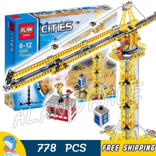 778pcs New City Construction Tower Building Crane Craneman Hoist 02069 Model Blocks Teenagers Toys Bricks Compatible With lego