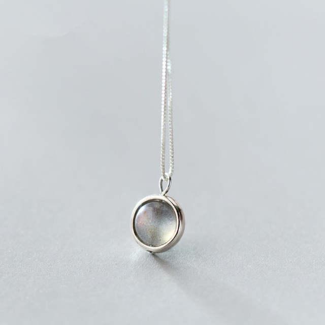 ba3e92b00e5c placeholder Grey piedra lunar de Plata de Ley 925 DE LA LUNA piedra collar