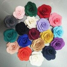 10 sztuk/worek rozmiar 4CM tkanina róża kwiat ręcznie wykonana tkanina kwiaty ręcznie DIY materiał ślub bukiet kwiatów akcesoria odzieżowe do włosów