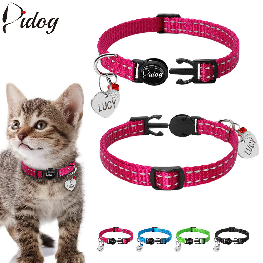 Didog Reflective Kitten Cat Collar Quick Release Collar Customized Engraved Rhinestone Heart Pet Id Tag With Bell For Pets Cats