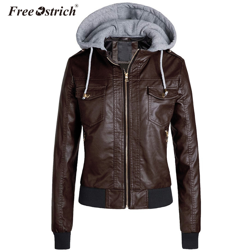 Free Ostrich 2019 Winter Faux Leather   Jacket   Women   Basic   Coats Plus Size 3XL Ladies   Basic     Jackets   Waterproof Coats Female N30