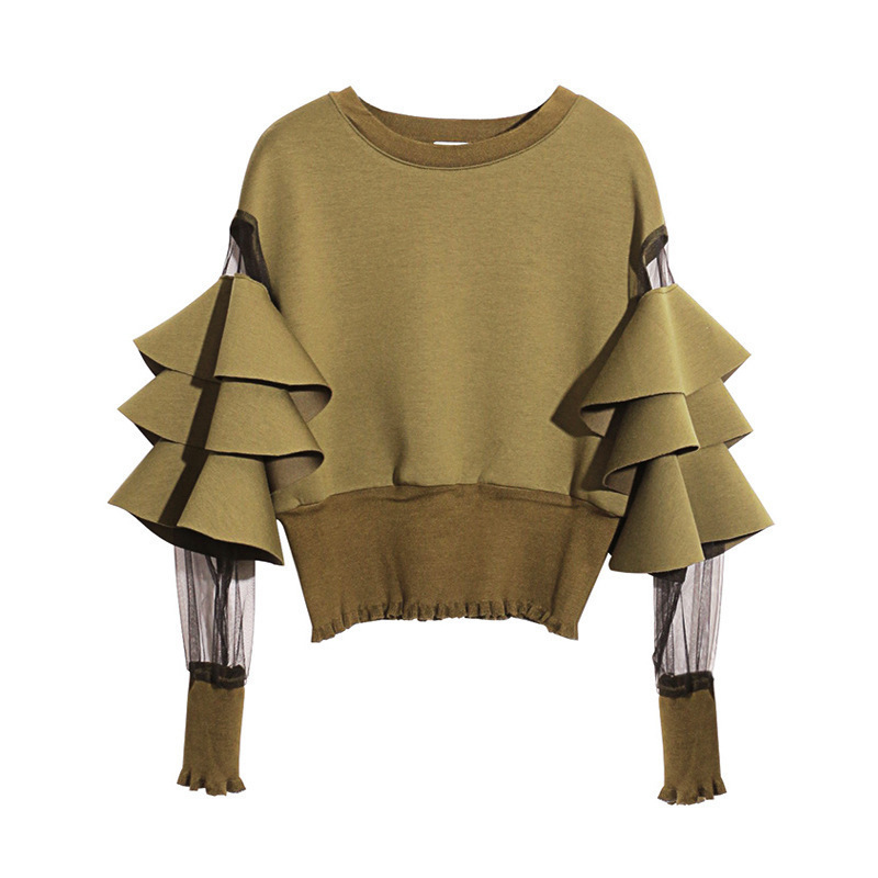 [EAM] 2020 New Spring Round Neck Long Sleeve Solid Color Gauze Split Joint Loose Sweatshirt Women Fashion Tide JC509 6
