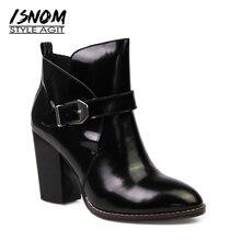 ISNOM Европейский Стиль ботильоны Женские сапоги на толстых высоких каблуках женская обувь суперзвезды уличного Туфли с ремешком и пряжкой зимние сапоги