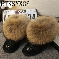 BTKSYXGS 2017 Women S Natural Real Fox Fur Snow Boots 100 Genuine Leather Women Boots Female