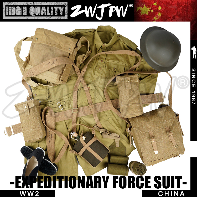 WWII WW2 CHINESE EXPEDITIONARY FORCE UNIFORM UK P37 EQUIPMENT SUITS&HELMET&EUIPMENT&SHOES COMBINATION 2