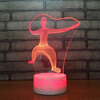 7 color night light creative products 3d small table lamp touch color usb atmosphere lamp 1604 (crack base)