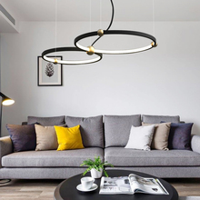 Nordic Creative Loft Pendant Light 3 Color Dimmable Round Ring Hanging Lamp Led Bedroom Restaurant Kitchen Hang Fixture