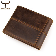 COWATHER 100% top quality cow genuine leather men wallets fashion splice purse dollar price carteira masculina free shipping