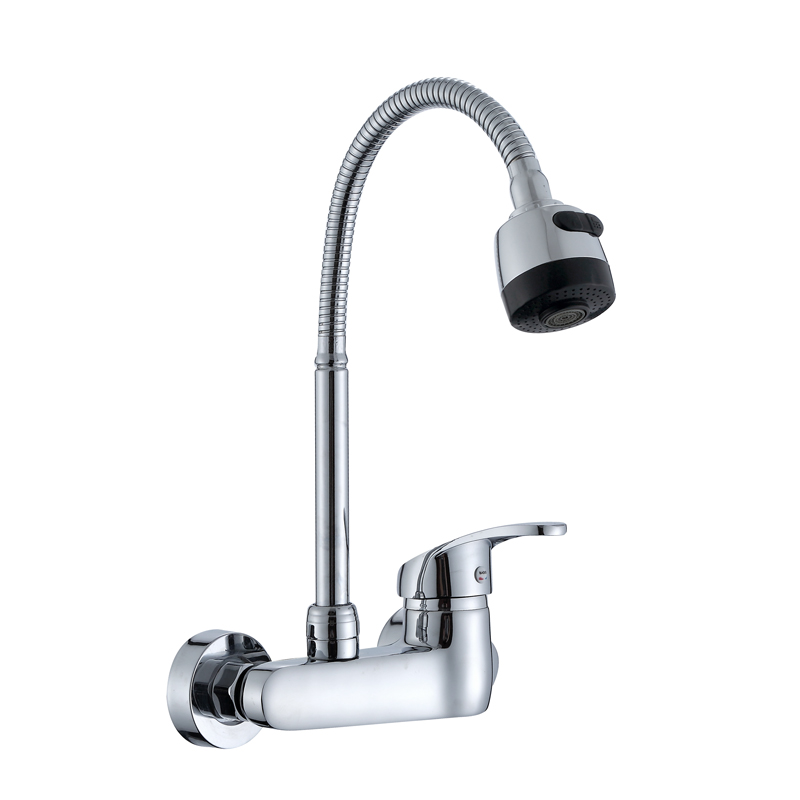 US $41.87 21% OFF|Wall Mounted Kitchen Faucet Single Handle Kitchen Mixer  Taps Dual Holes Hot and Cold Water Tap 360 Degree Rotation-in Kitchen ...