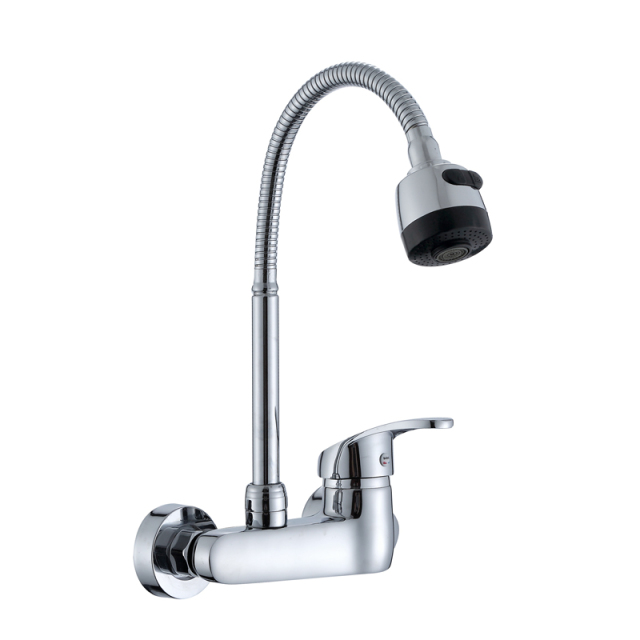 Wall Mounted Kitchen Faucet Single Handle Kitchen Mixer Taps Dual Holes Hot  And Cold Water Tap