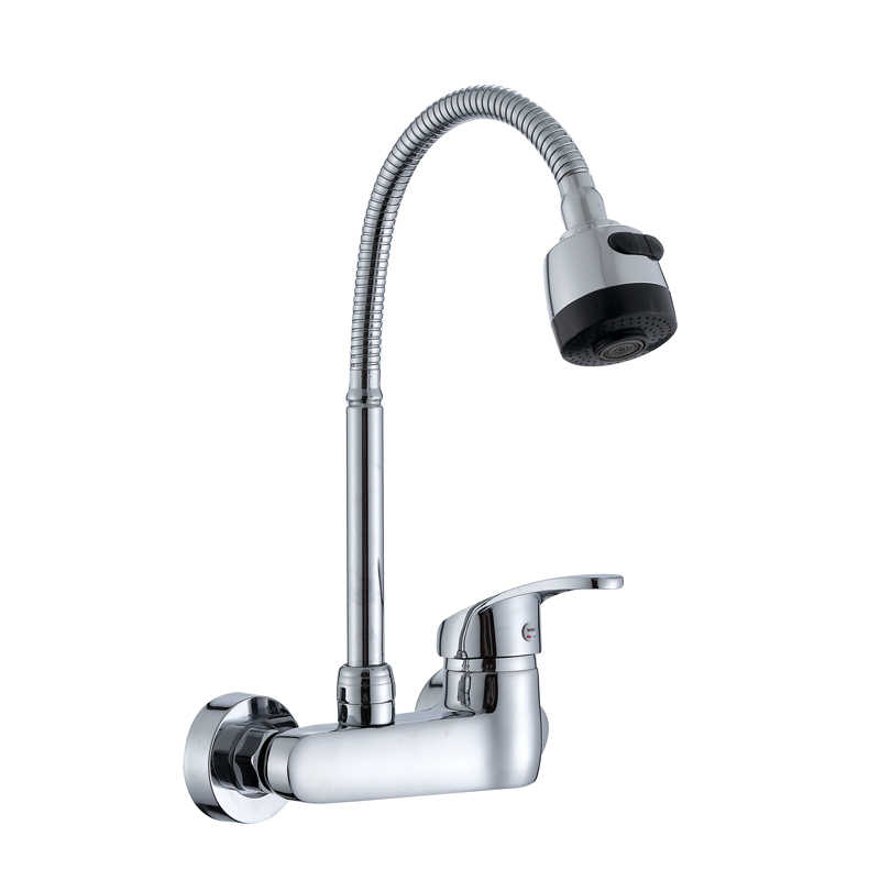 Wall Mounted Kitchen Faucet Single Handle Kitchen Mixer Taps Dual Holes Hot  and Cold Water Tap 360 Degree Rotation