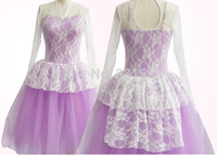 2014 New Arrival Girls Long Sleeve Debut Performance Ballet Tutu Dress With Lace Blue Or Purple