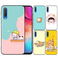 Capa de silicone para samsung galaxy s20 s10e s10 s9 s8 s7 borda nota 8 9 10 plus caso kawaii molang(China)