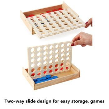 Good Quality New 4 in a Row Wooden Game, Line Up 4, Classic Family Toy Board Game for Kids And Family Fun connect 4 classic grid board game toy