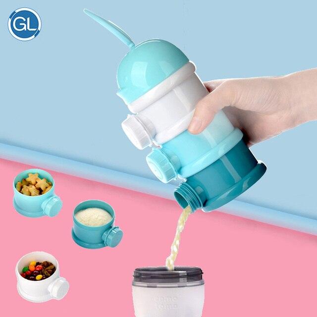 Brand Gl 3 Layers Portable Infant Baby Milk Powder Dispenser Bo Container Food Storage Fruit Cartoon