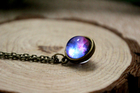 Nebula Necklace Planet Jewelry Blue Purple Yellow Pink Galaxy Jewelry Solar System Necklace Glass Dome Necklace