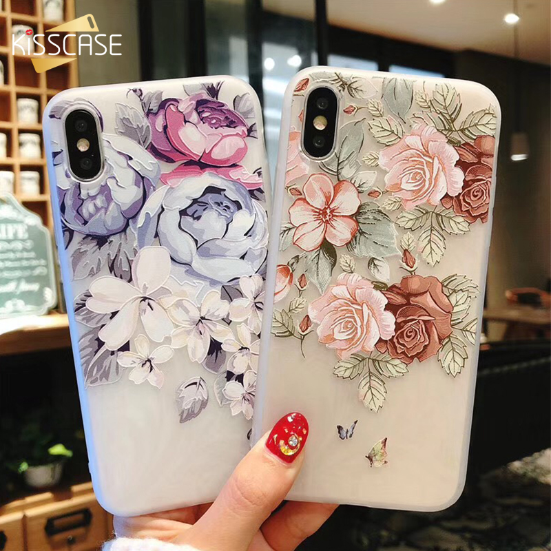 KISSCASE 3D Relief Floral Phone Case For iPhone 6s 7 Case Retro Girly Soft Silicon Cover For iPhone 6 S Cases For iPhone 7 8Plus