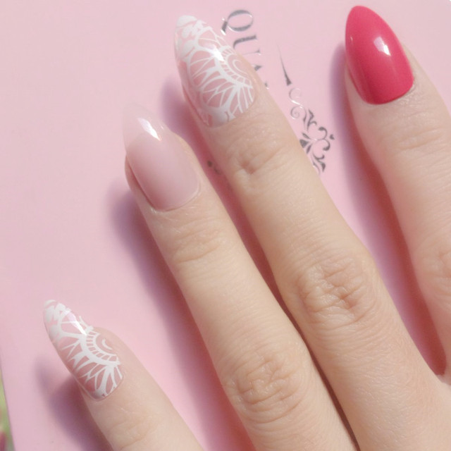 Clear Light Pink Short Fake Nail Red Y White Lace Stiletto Nails Acrylic False Tips