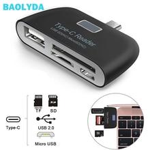 Baolyda אלומיניום סוג C מיקרו USB כרטיס קורא 4in1 OTG/TF/SD חכם מיני קורא כרטיסי מתאם USB/מיקרו USB תשלום טלפון יציאת