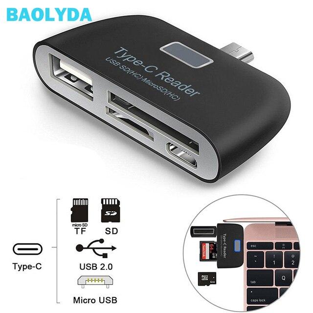 Baolyda 알루미늄 타입 c 마이크로 usb 카드 리더 4in1 otg/tf/sd 스마트 미니 카드 리더 어댑터 usb/마이크로 usb 충전 전화 포트