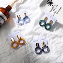 Simple Water Drop Style Hollow Acrylic Pendant Hanging Earrings for Women Round Dangle Geometric Teardrop Jewelry