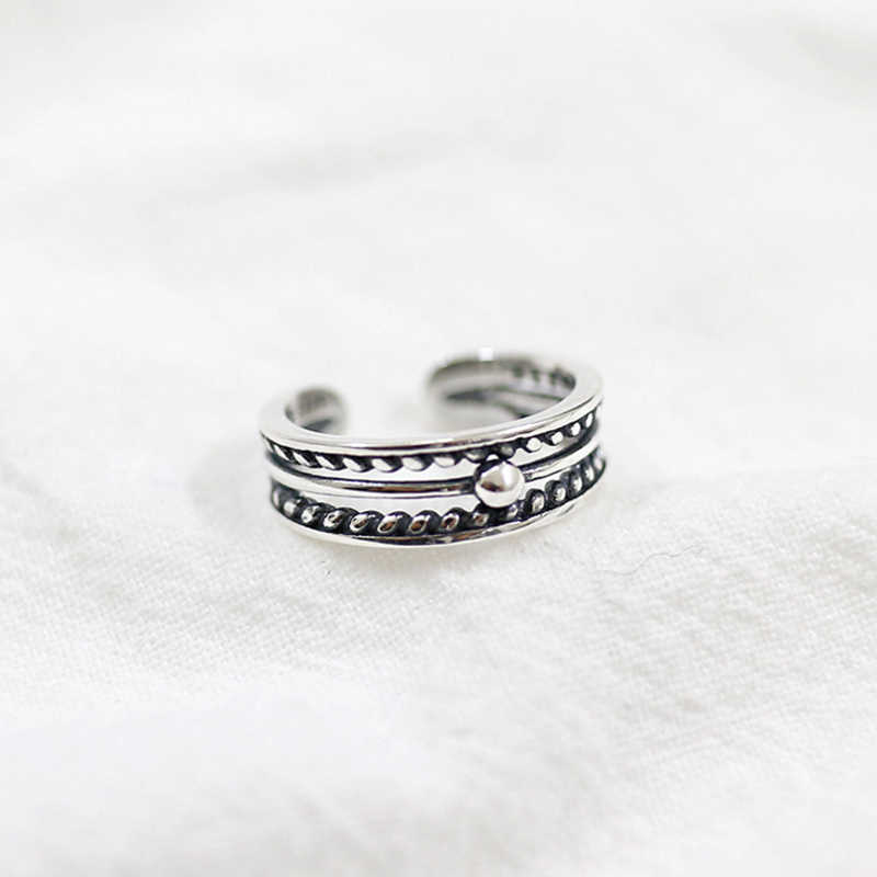 100% S925 Sterling Silver Three-layer Bead Twist Hollow Open Men and Women Ring