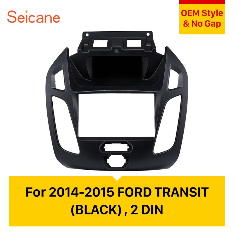 Seicane Audio Cover Dash Mount Trim Panel Installation Kit Double Din Car Stereo Frame Fascia for 2014 2015 Ford Transit
