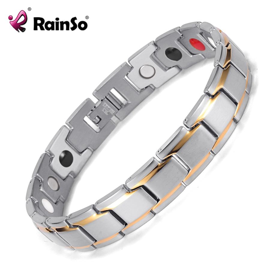 Rainso dropshipping Rostfritt stål Bio-Energy Armband Trendigt häls gran granat magnetiska smycken Armband hologram armband