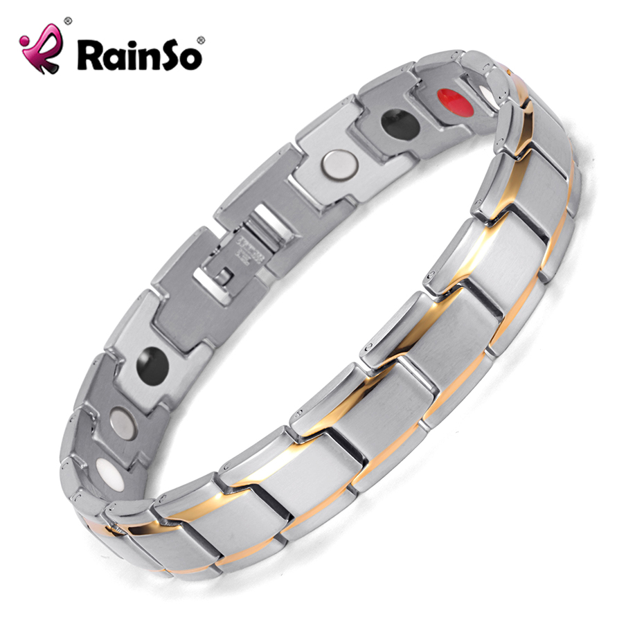 все цены на Rainso Dropshipping Stainless Steel Bio Energy Bracelet Fashion Health FIR Bangle Magnetic Jewelry Bracelets Hologram Wristband