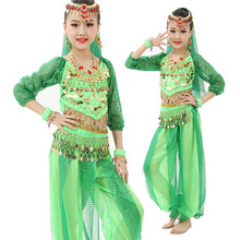 6PCS / SET Belly Dance Kostymer Kids Belly Dance Kostymer Bollywood Dance Girls Gåva S-XL Lång Ärmar Indisk Klänning för Barn
