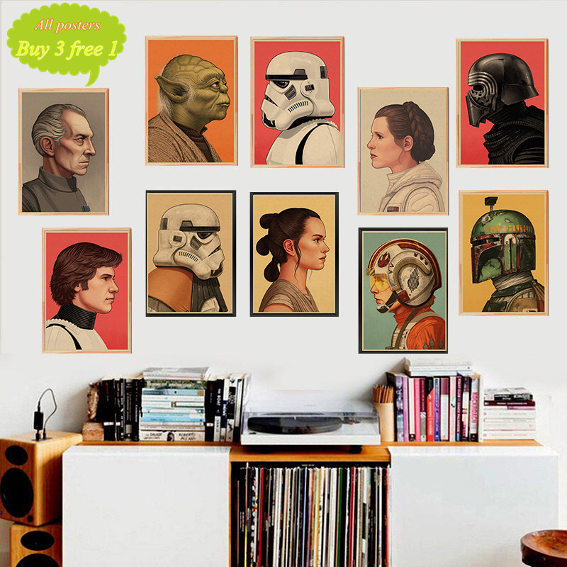 The profile of Star Wars characters Posters home decor kraft paper Painting wall stickers-in Wall Stickers from Home & Garden