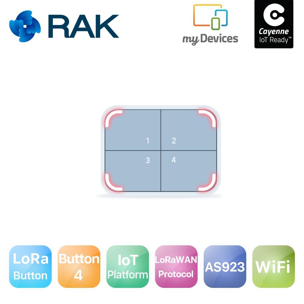 LoRa Smart IoT bouton commutateur à distance sans fil déclencheur WiFi Module LoRaWAN1.0.2 protocole avec tutoriel nodé 4 LED AS923 868 915