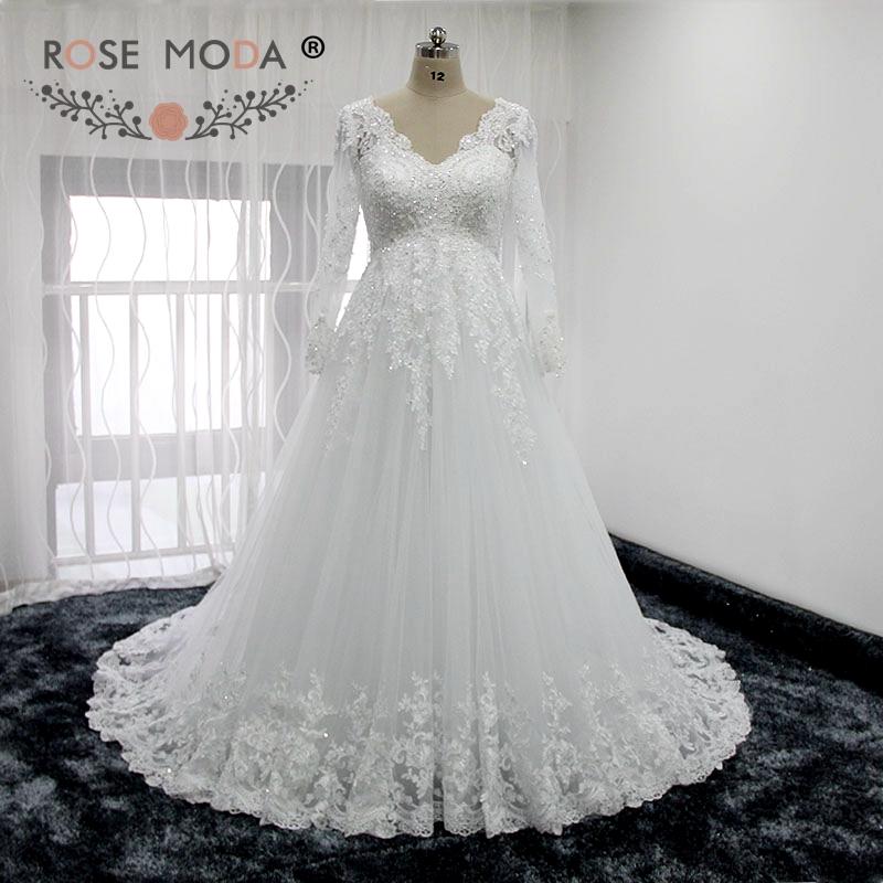 70d37071e7928 Rose Moda V Neck Long Sleeves Lace Wedding Dress Empire Maternity Wedding  Dresses Real Photos-in Wedding Dresses from Weddings & Events on  Aliexpress.com ...