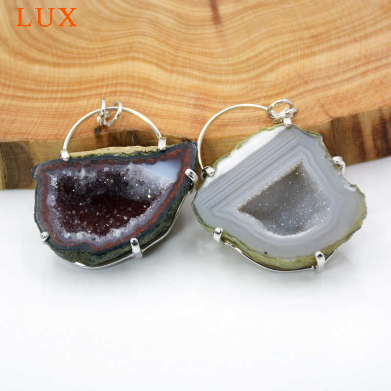 Natural Agate Geode Druzy Gemstone Handmade 925 Silver Plated Earring Jewelry 696