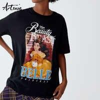 Artsnie Black Cartoon Women's t-shirt Summer 2019 O Neck Short Sleeve Character Women t shirt Streetwear Knitted Girls Tee Tops