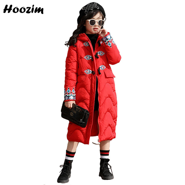 Flash Sale Winter X-Long Jacket For Girls 9 11 12 13 14 15 16 Years Fashion Parka Children Cool Outerwear Kids Autumn Floral Coat For Girls