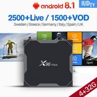 IPTV подписка X96MAX коробка 1 год IUDTV Великобритания шведская подписка 4 г 32 г S905X2 коробка скандинавский турецкий интерактивное телевидение IUDTV п