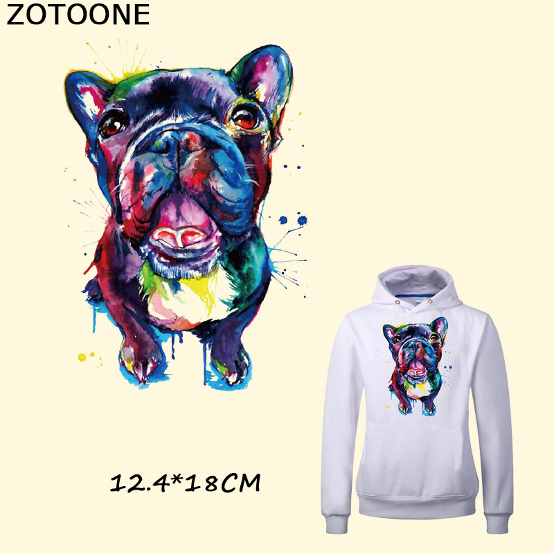 ZOTOONE Cute Multicolor Dog Iron on Patches 12.4*18cm DIY Fashion Animals Patch for Clothes Bags Thermal Transfer Stickers D