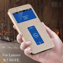 Leather Case for Lenovo K5 Note Cases Quick Answer Window Flip Stand Cover for Lenovo K5 Note A7020 K52t38 K52e78 Phone Bags New стоимость