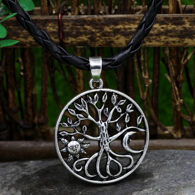 Tree Of Life Necklace Alloy Tree Pendant Sun Moon Round Silver Charm