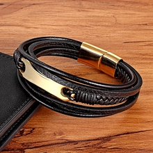 TYO Personality Jewelry Different Designs Geometric Pattern Multi-layers Genuine Leather Bracelet For Men Fashion Gift