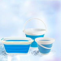 Home cleaning and cleaning of folding bucket Plastic telescopic bucket Portable travel silicone buckets for car washes 10L 12L