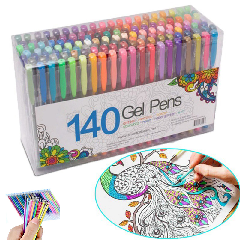 Set of 140 gel pens in all colors of the rainbow and more!