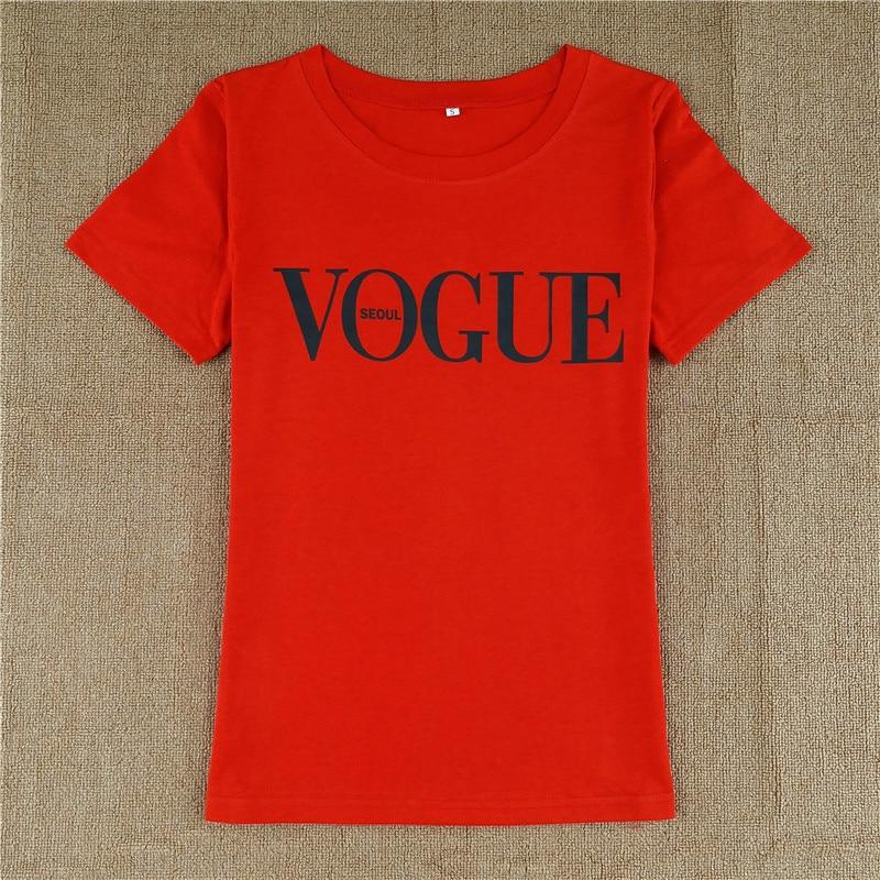 VOGUE seoul Print T Shirt 2018 Summer fashion women t-shirt Harajuku short sleeve casual tees tops Red Black White