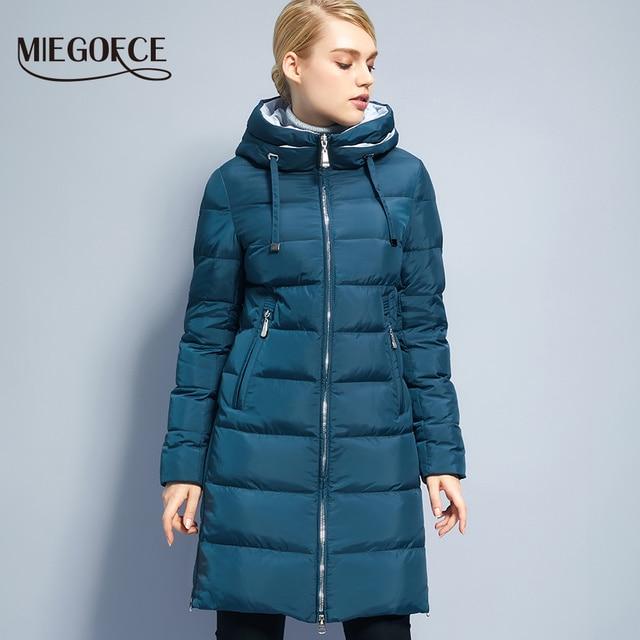 Miegofce густой пуховик зимний женский ветрозащитный теплая женская парка воротник с капюшоном зимняя куртка высококачественный хлопок горячая зимняя модель