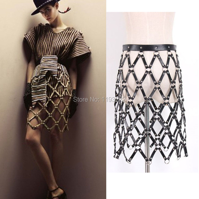 Sexy Cool Street Caged Weave Round Plaid Shaping Shaper Leather Harness Body Bondage Skirts Chain Dress