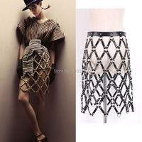 Sexy Cool Street Caged Weave Round Plaid Shaping Shaper Leather Women Skirt Harness Skirts Chain Dress Belt